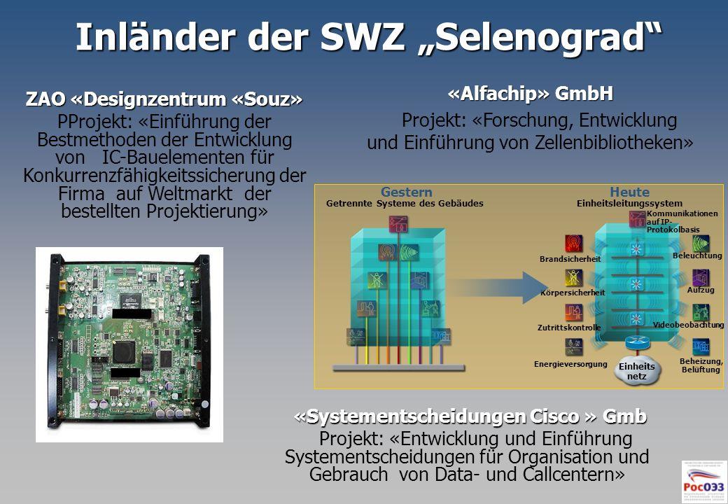 Inländer der SWZ Selenograd ZAO «Designzentrum «Souz» PProjekt: «Einführung der Bestmethoden der Entwicklung von IC-Bauelementen für Konkurrenzfähigke