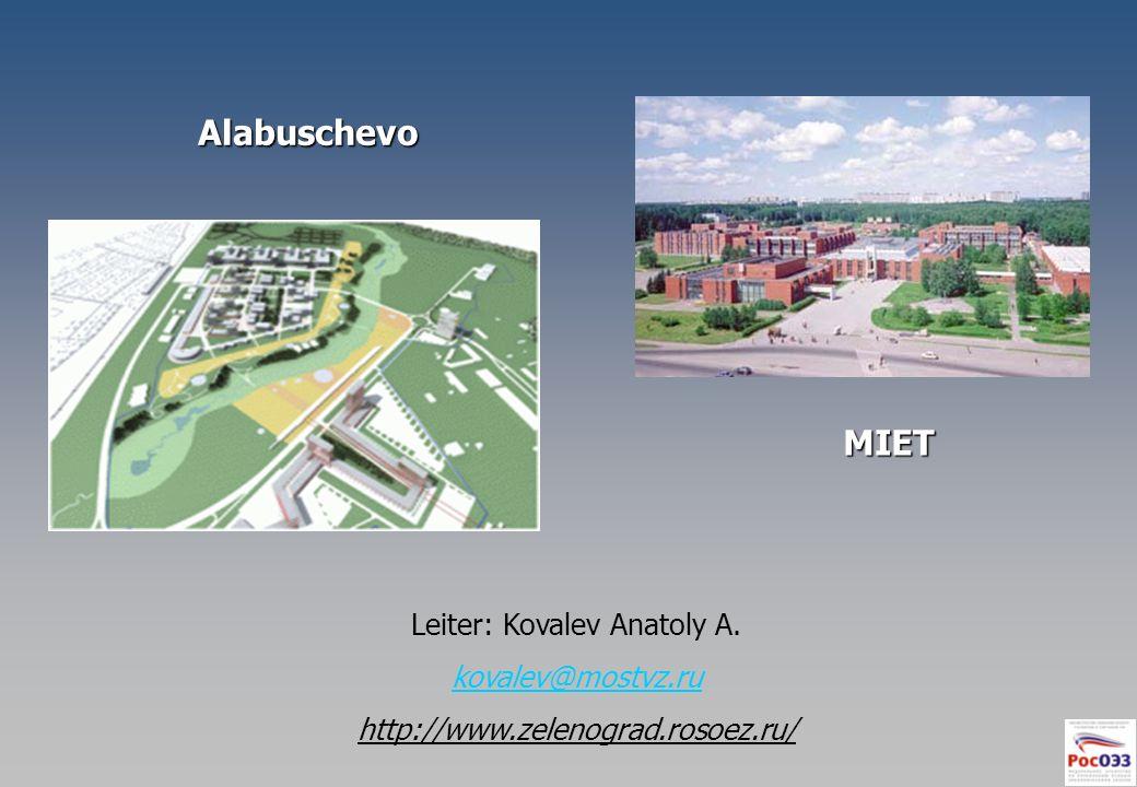 MIET Alabuschevo Leiter: Kovalev Anatoly A. kovalev@mostvz.ru http://www.zelenograd.rosoez.ru/