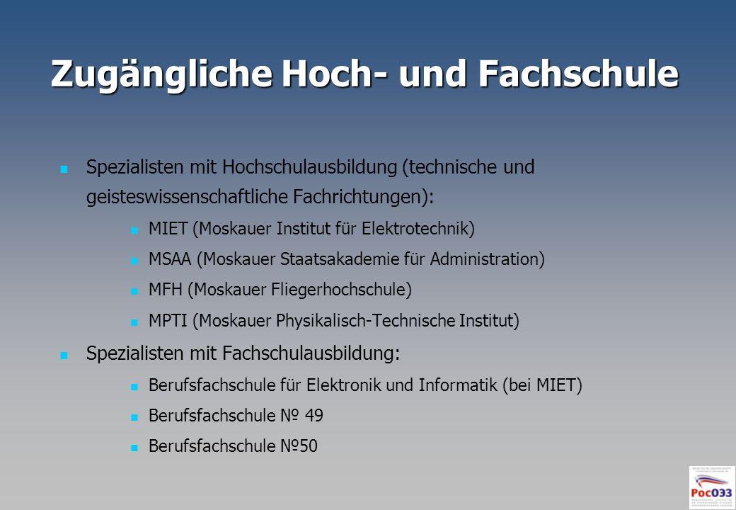 Zugängliche Hoch- und Fachschule Spezialisten mit Hochschulausbildung (technische und geisteswissenschaftliche Fachrichtungen): MIET (Moskauer Institu