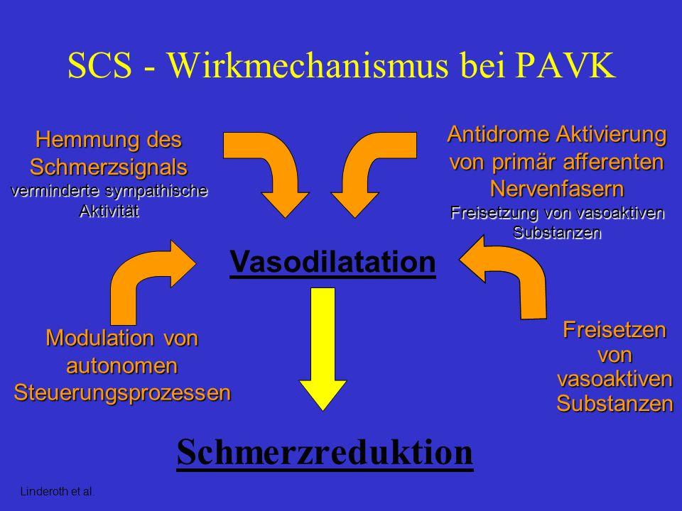 ESES Ergebnisse Positiver Effekt auf Schmerzreduktion und Wundheilung nachgewiesen Kein signifikanter Unterschied bei Beinerhalt ( p = 0.47 ) Signifikant höhere Behandlungskosten ( p = 0.002 ) in SCS Gruppe
