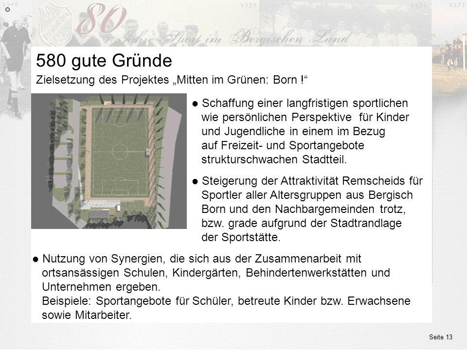 www.ssv.bergisch-born.de Seite 13 Zielsetzung des Projektes Mitten im Grünen: Born ! 580 gute Gründe Schaffung einer langfristigen sportlichen wie per