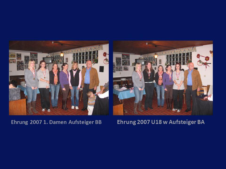 Ehrung 2007 1. Damen Aufsteiger BB Ehrung 2007 U18 w Aufsteiger BA