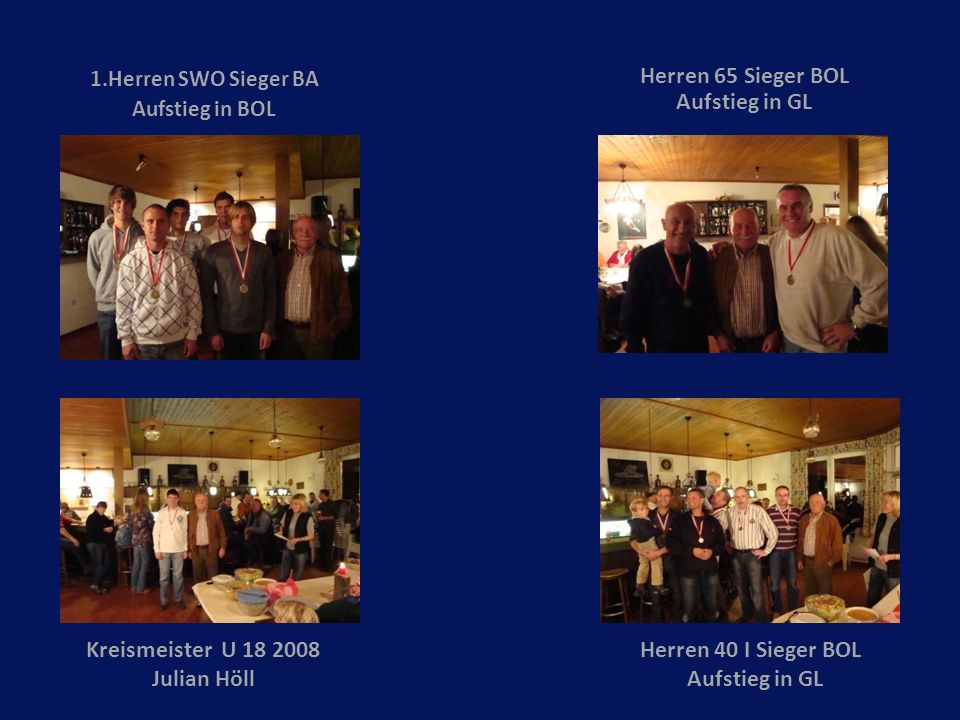 1.Herren SWO Sieger BA Aufstieg in BOL Herren 65 Sieger BOL Aufstieg in GL Herren 40 I Sieger BOL Aufstieg in GL Kreismeister U 18 2008 Julian Höll