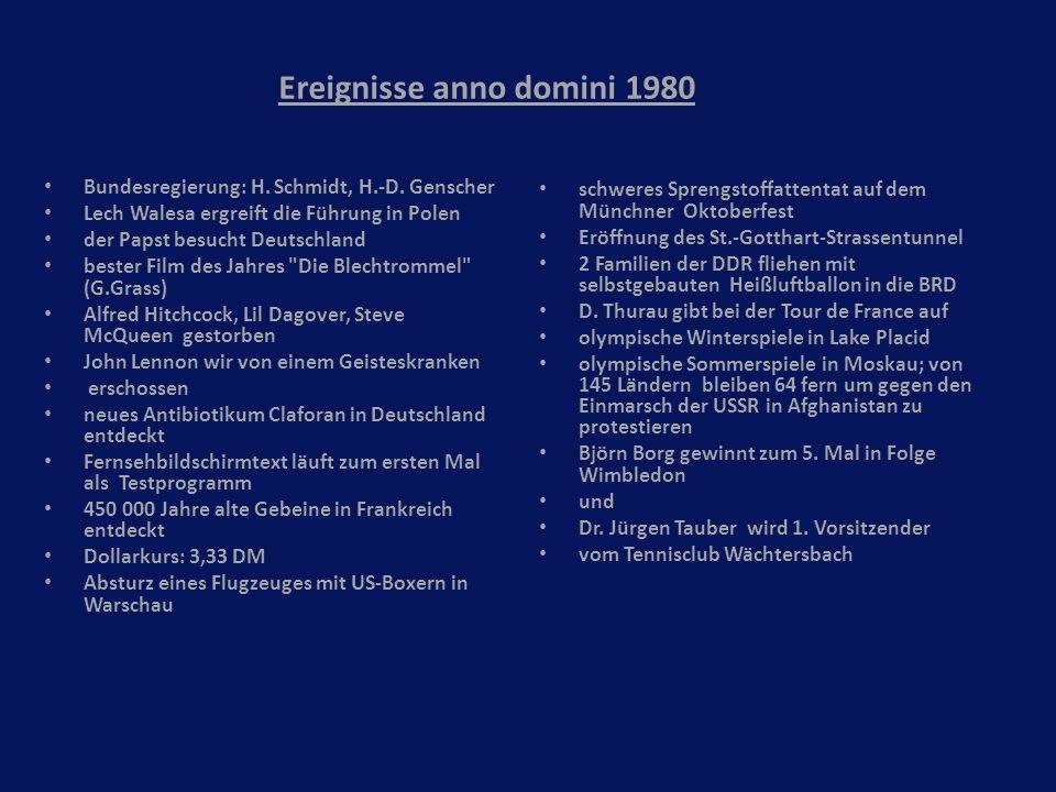 Ereignisse anno domini 1980 Bundesregierung: H. Schmidt, H.-D. Genscher Lech Walesa ergreift die Führung in Polen der Papst besucht Deutschland bester