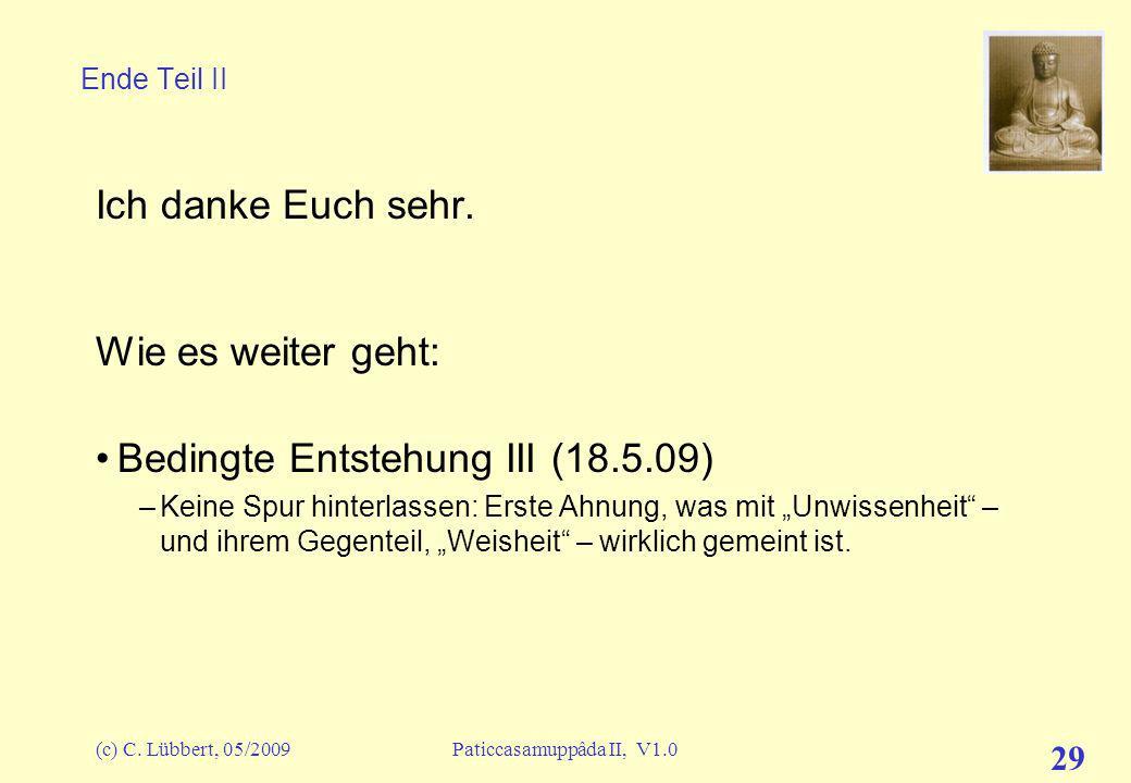 (c) C.Lübbert, 05/2009Paticcasamuppâda II, V1.0 29 Ende Teil II Ich danke Euch sehr.