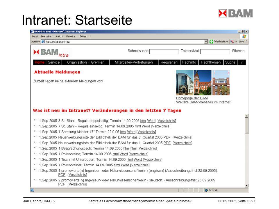 Zentrales Fachinformationsmanagement in einer Spezialbibliothek08.09.2005, Seite 10/21 Jan Harloff, BAM Z.9 Intranet: Startseite