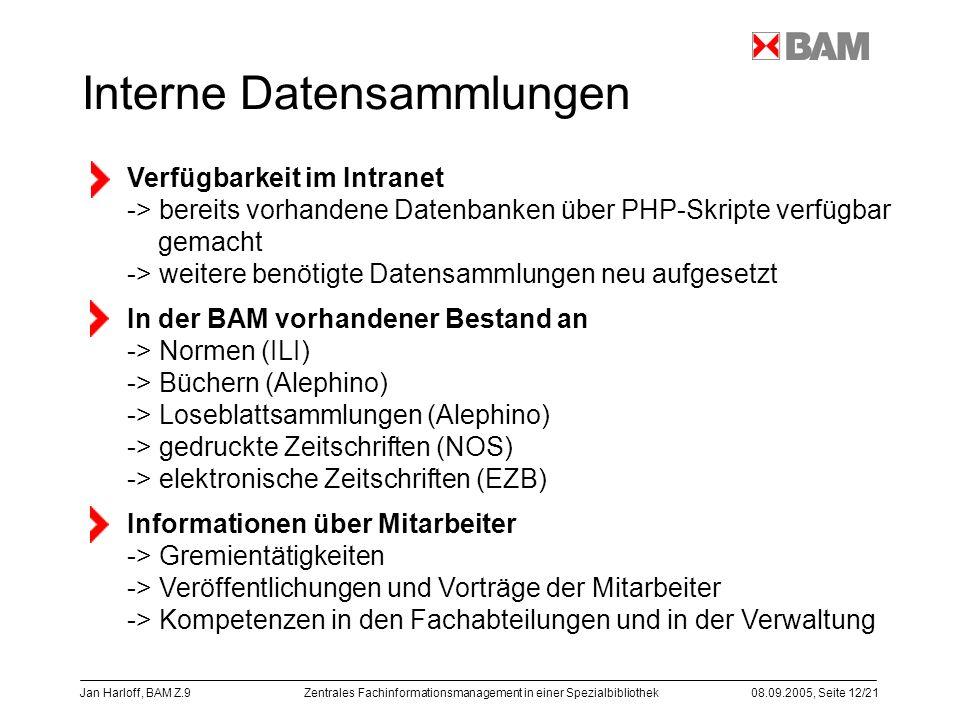Zentrales Fachinformationsmanagement in einer Spezialbibliothek08.09.2005, Seite 12/21 Jan Harloff, BAM Z.9 Interne Datensammlungen Verfügbarkeit im I