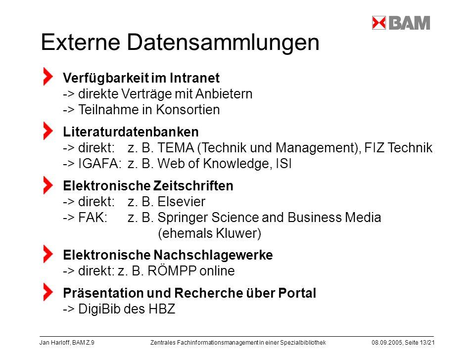 Zentrales Fachinformationsmanagement in einer Spezialbibliothek08.09.2005, Seite 13/21 Jan Harloff, BAM Z.9 Externe Datensammlungen Verfügbarkeit im I