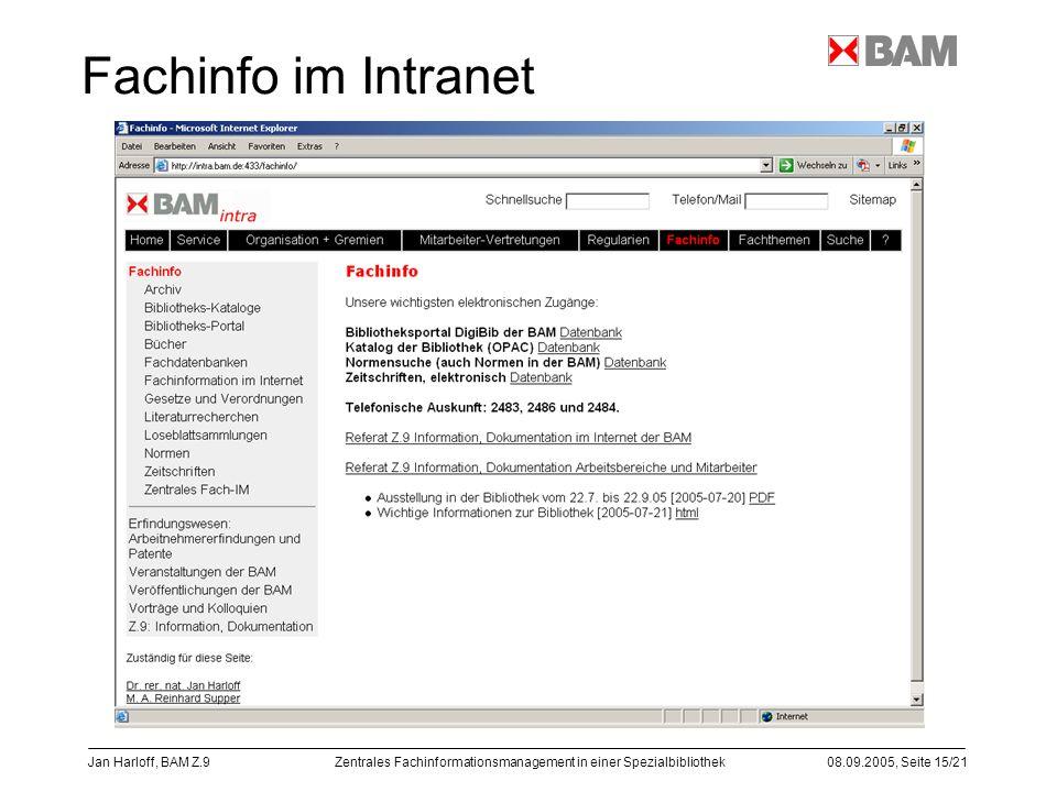 Zentrales Fachinformationsmanagement in einer Spezialbibliothek08.09.2005, Seite 15/21 Jan Harloff, BAM Z.9 Fachinfo im Intranet