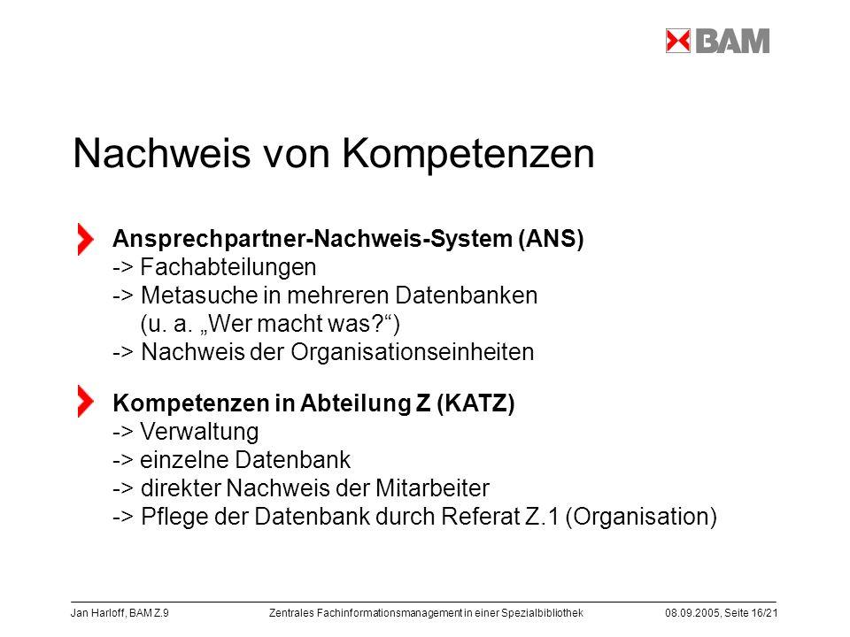 Zentrales Fachinformationsmanagement in einer Spezialbibliothek08.09.2005, Seite 16/21 Jan Harloff, BAM Z.9 Nachweis von Kompetenzen Ansprechpartner-N