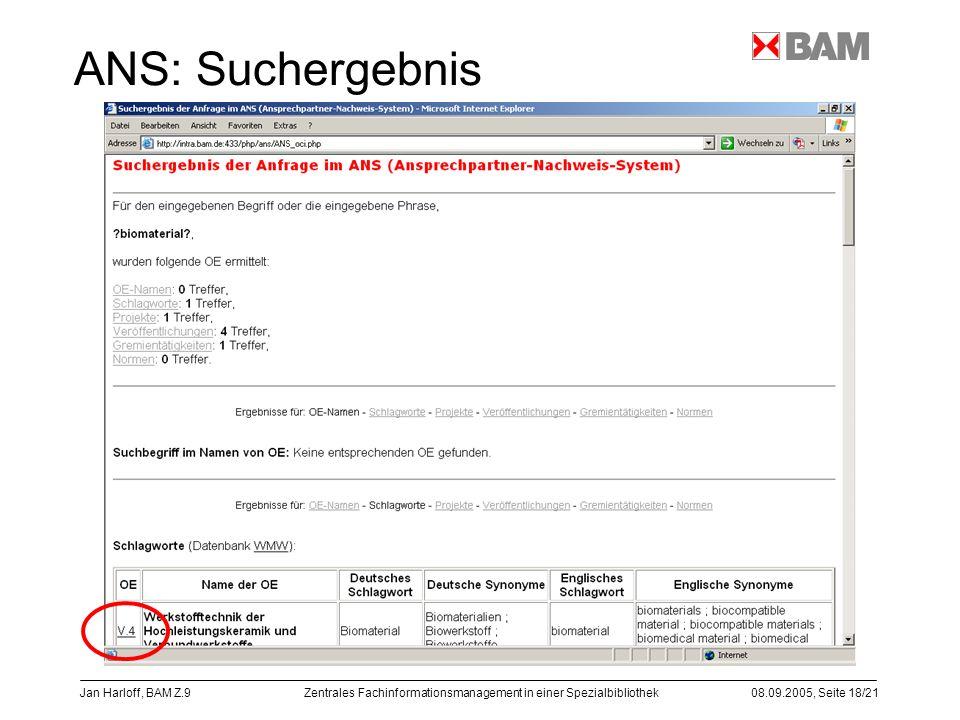 Zentrales Fachinformationsmanagement in einer Spezialbibliothek08.09.2005, Seite 18/21 Jan Harloff, BAM Z.9 ANS: Suchergebnis