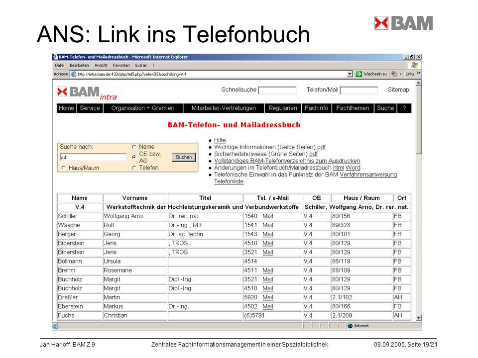 Zentrales Fachinformationsmanagement in einer Spezialbibliothek08.09.2005, Seite 19/21 Jan Harloff, BAM Z.9 ANS: Link ins Telefonbuch