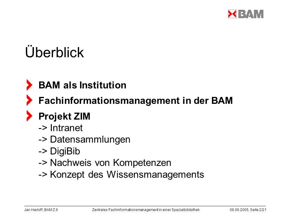 Zentrales Fachinformationsmanagement in einer Spezialbibliothek08.09.2005, Seite 2/21 Jan Harloff, BAM Z.9 Überblick BAM als Institution Fachinformati