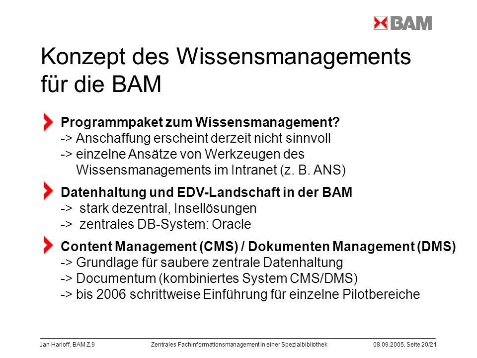 Zentrales Fachinformationsmanagement in einer Spezialbibliothek08.09.2005, Seite 20/21 Jan Harloff, BAM Z.9 Konzept des Wissensmanagements für die BAM