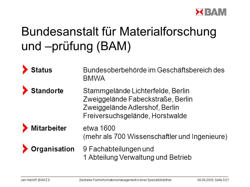 Zentrales Fachinformationsmanagement in einer Spezialbibliothek08.09.2005, Seite 3/21 Jan Harloff, BAM Z.9 Bundesanstalt für Materialforschung und –pr
