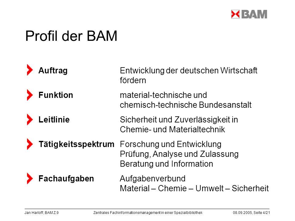 Zentrales Fachinformationsmanagement in einer Spezialbibliothek08.09.2005, Seite 4/21 Jan Harloff, BAM Z.9 Profil der BAM Auftrag Entwicklung der deut