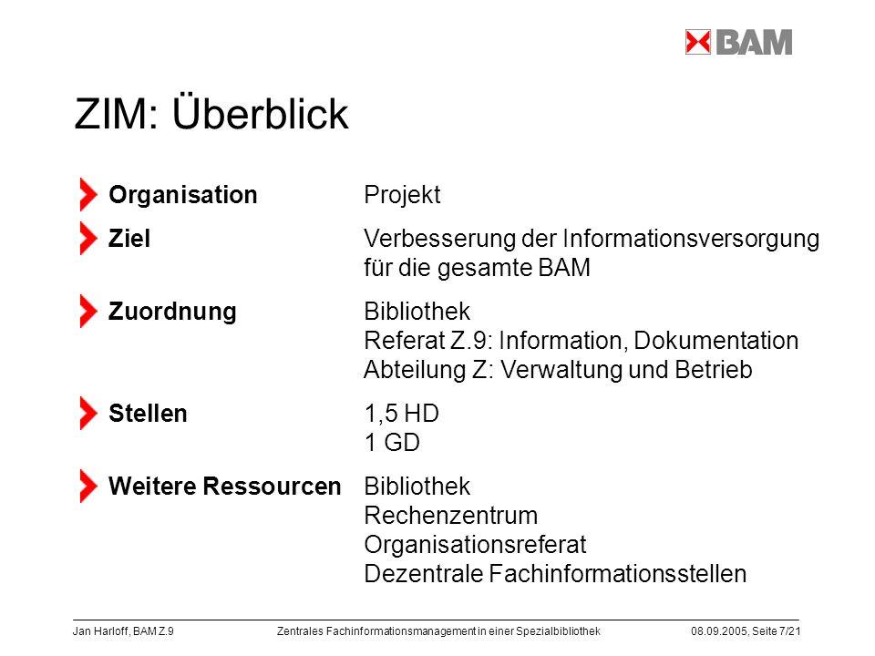 Zentrales Fachinformationsmanagement in einer Spezialbibliothek08.09.2005, Seite 7/21 Jan Harloff, BAM Z.9 ZIM: Überblick Organisation Projekt ZielVer