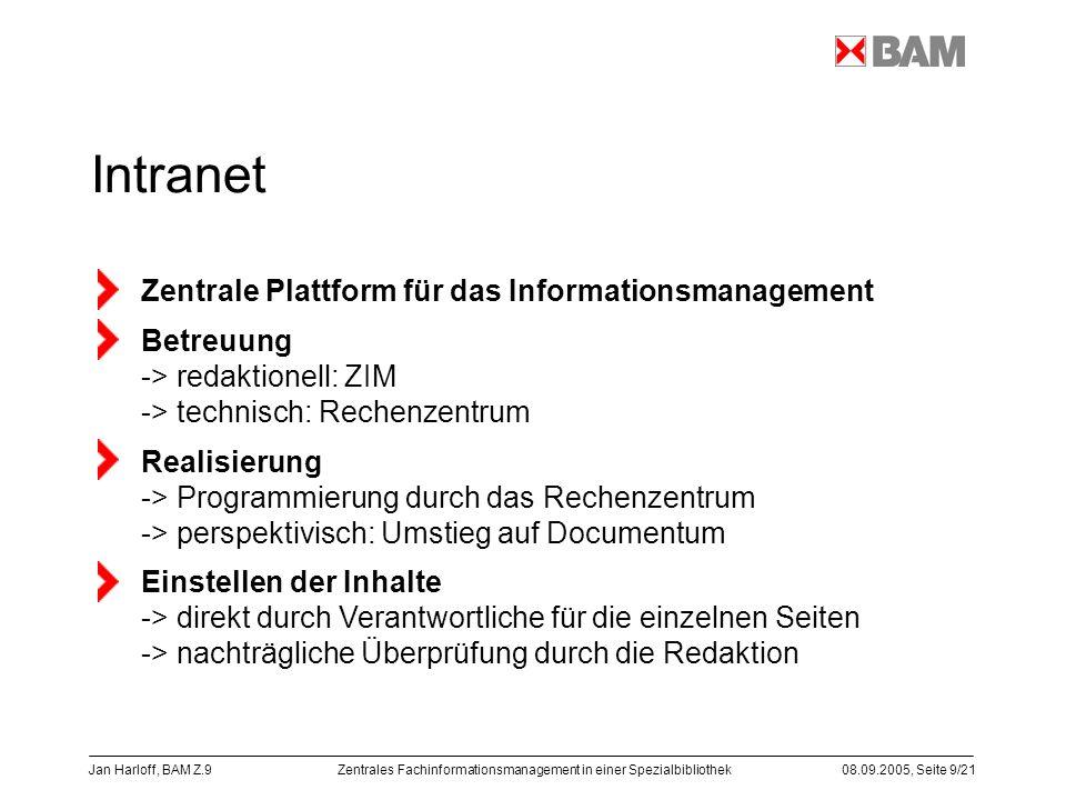 Zentrales Fachinformationsmanagement in einer Spezialbibliothek08.09.2005, Seite 9/21 Jan Harloff, BAM Z.9 Intranet Zentrale Plattform für das Informa
