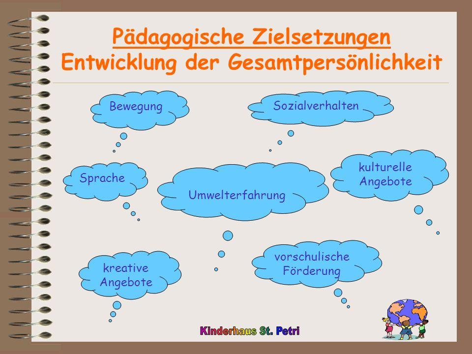 Pädagogische Zielsetzungen Entwicklung der Gesamtpersönlichkeit Bewegung Umwelterfahrung Sprache kulturelle Angebote vorschulische Förderung kreative Angebote Sozialverhalten