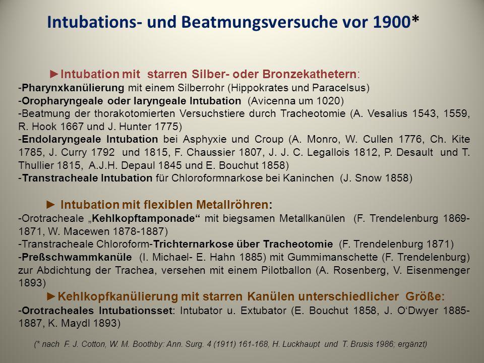 Intubations- und Beatmungsversuche vor 1900* Intubation mit starren Silber- oder Bronzekathetern: -Pharynxkanülierung mit einem Silberrohr (Hippokrate