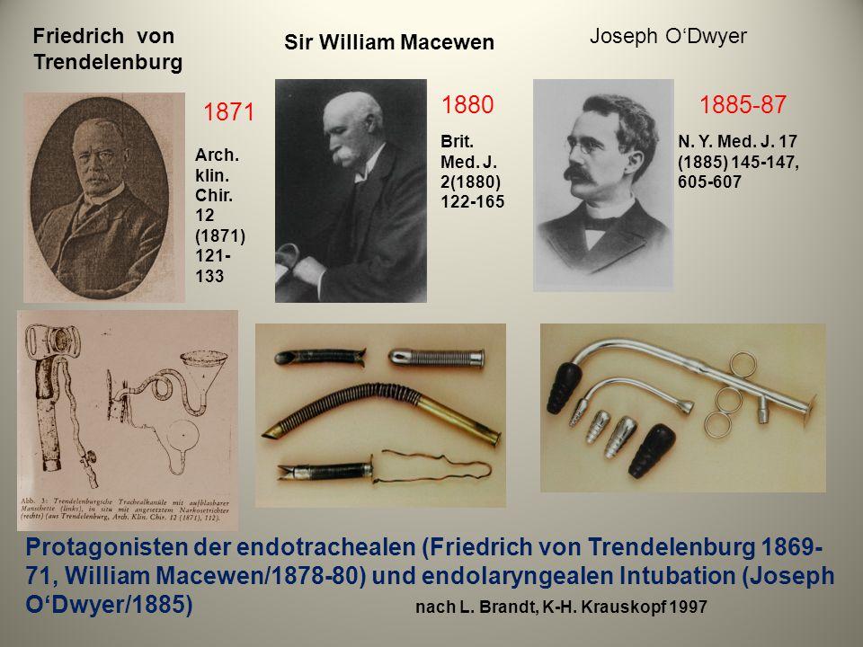 Protagonisten der endotrachealen (Friedrich von Trendelenburg 1869- 71, William Macewen/1878-80) und endolaryngealen Intubation (Joseph ODwyer/1885) n
