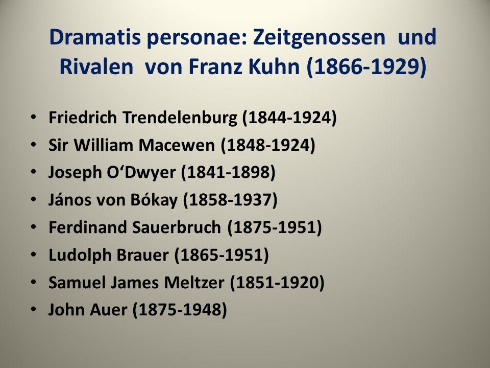 Dramatis personae: Zeitgenossen und Rivalen von Franz Kuhn (1866-1929) Friedrich Trendelenburg (1844-1924) Sir William Macewen (1848-1924) Joseph ODwy