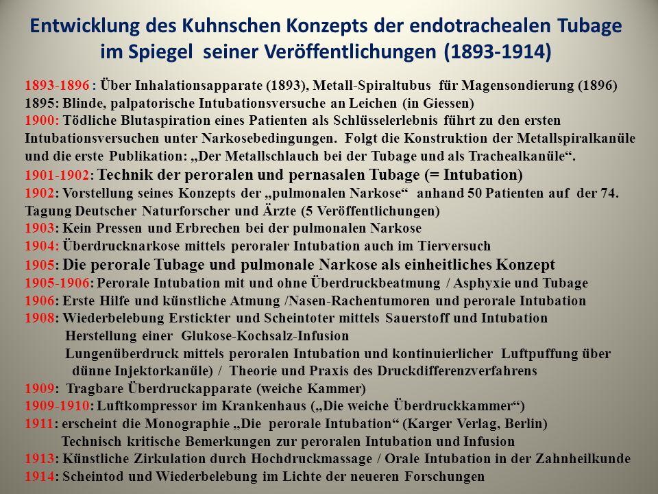 Entwicklung des Kuhnschen Konzepts der endotrachealen Tubage im Spiegel seiner Veröffentlichungen (1893-1914) 1893-1896 : Über Inhalationsapparate (18