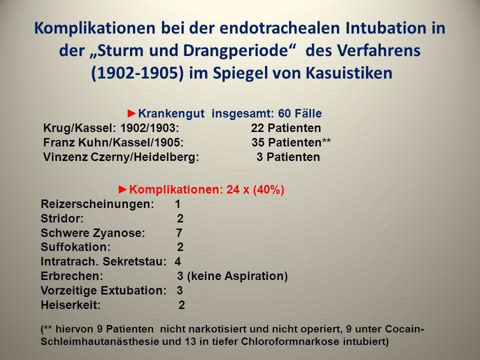 Komplikationen bei der endotrachealen Intubation in der Sturm und Drangperiode des Verfahrens (1902-1905) im Spiegel von Kasuistiken Krankengut insges
