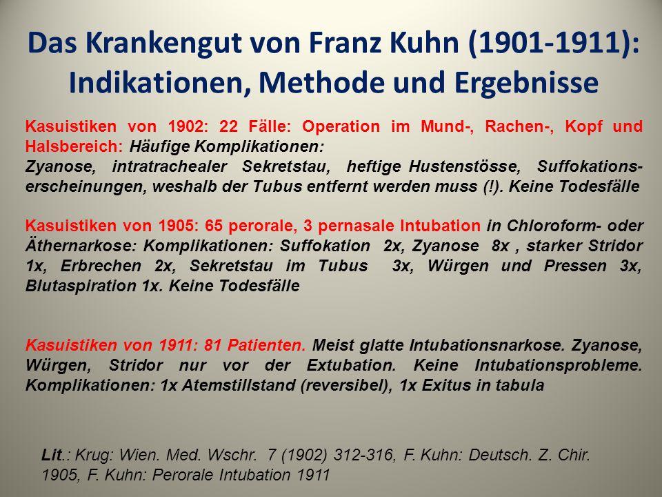 Das Krankengut von Franz Kuhn (1901-1911): Indikationen, Methode und Ergebnisse Kasuistiken von 1902: 22 Fälle: Operation im Mund-, Rachen-, Kopf und