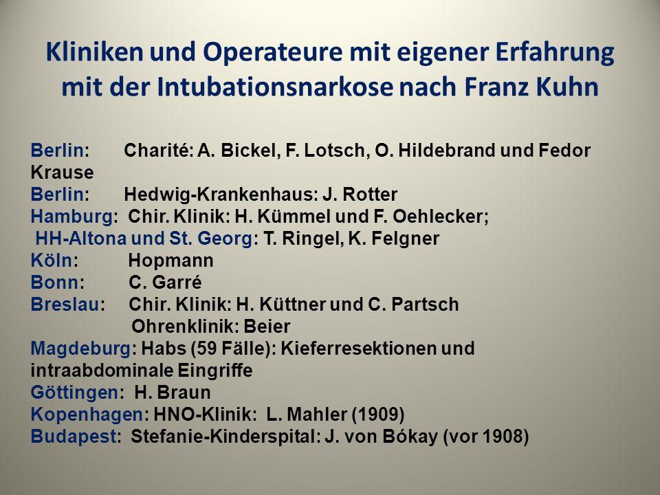 Kliniken und Operateure mit eigener Erfahrung mit der Intubationsnarkose nach Franz Kuhn Berlin: Charité: A. Bickel, F. Lotsch, O. Hildebrand und Fedo