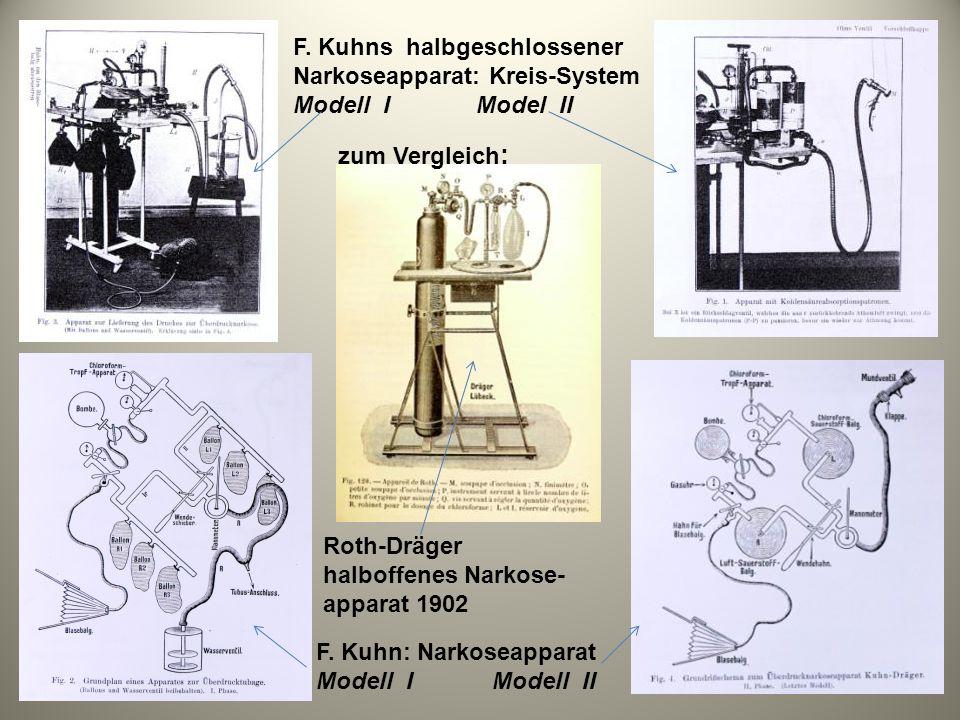 Roth-Dräger halboffenes Narkose- apparat 1902 F. Kuhns halbgeschlossener Narkoseapparat: Kreis-System Modell I Model II F. Kuhn: Narkoseapparat Modell