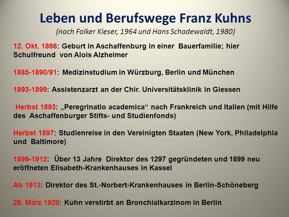 Leben und Berufswege Franz Kuhns (nach Folker Kieser, 1964 und Hans Schadewaldt, 1980) 12. Okt. 1866: Geburt in Aschaffenburg in einer Bauerfamilie; h