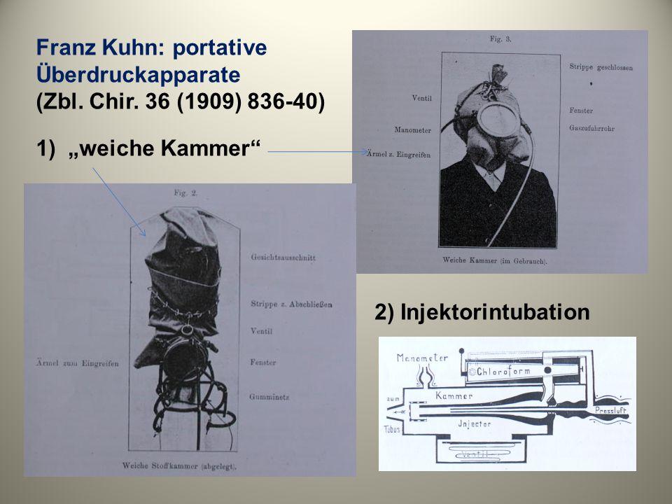 Franz Kuhn: portative Überdruckapparate (Zbl. Chir. 36 (1909) 836-40) 1) weiche Kammer 2) Injektorintubation
