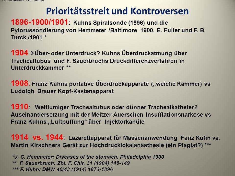 Prioritätsstreit und Kontroversen 1896-1900/1901 : Kuhns Spiralsonde (1896) und die Pylorussondierung von Hemmeter /Baltimore 1900, E. Fuller und F. B