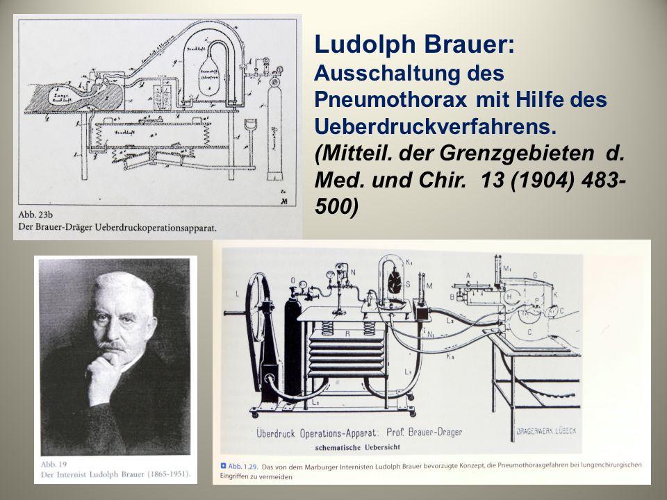 Ludolph Brauer: Ausschaltung des Pneumothorax mit Hilfe des Ueberdruckverfahrens. (Mitteil. der Grenzgebieten d. Med. und Chir. 13 (1904) 483- 500)