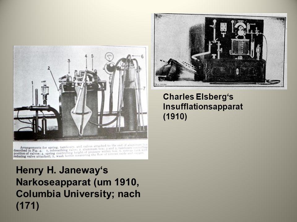 Henry H. Janeways Narkoseapparat (um 1910, Columbia University; nach (171) Charles Elsbergs Insufflationsapparat (1910)
