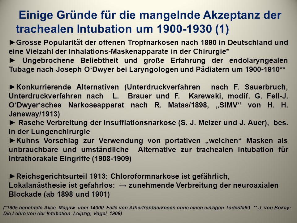 Einige Gründe für die mangelnde Akzeptanz der trachealen Intubation um 1900-1930 (1) Grosse Popularität der offenen Tropfnarkosen nach 1890 in Deutsch