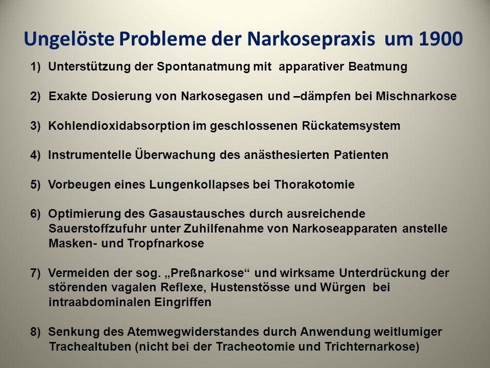 Ungelöste Probleme der Narkosepraxis um 1900 1) Unterstützung der Spontanatmung mit apparativer Beatmung 2)Exakte Dosierung von Narkosegasen und –dämp