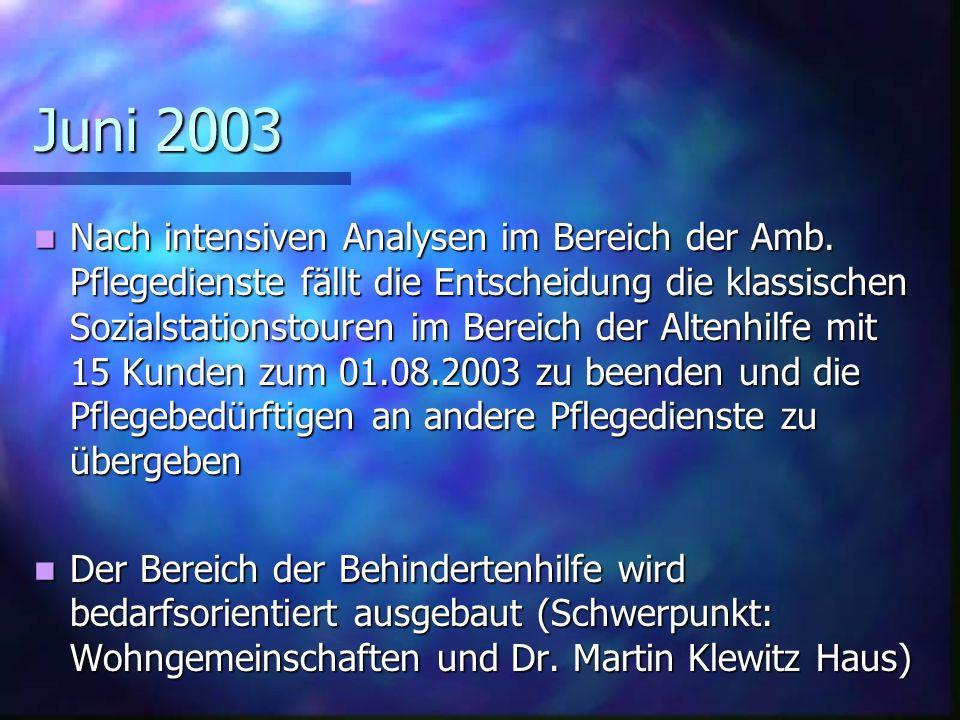 Juni 2003 Nach intensiven Analysen im Bereich der Amb.