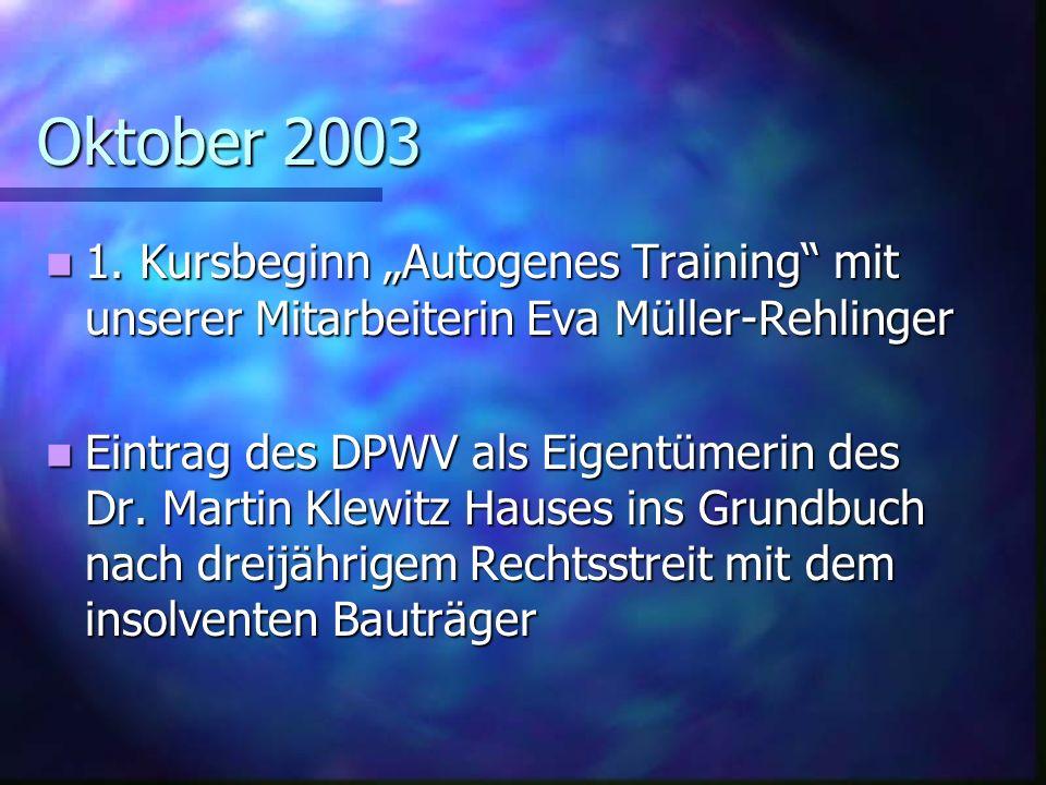 Oktober 2003 1.Kursbeginn Autogenes Training mit unserer Mitarbeiterin Eva Müller-Rehlinger 1.