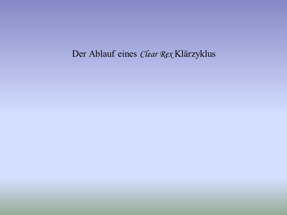 Wissmann Elektronik GmbH – 31711 Luhden Der Klärzyklus bei Clear Rex und AQUAair 72 W I S S M A N N E L E K T R O N I K G M B H Abt.