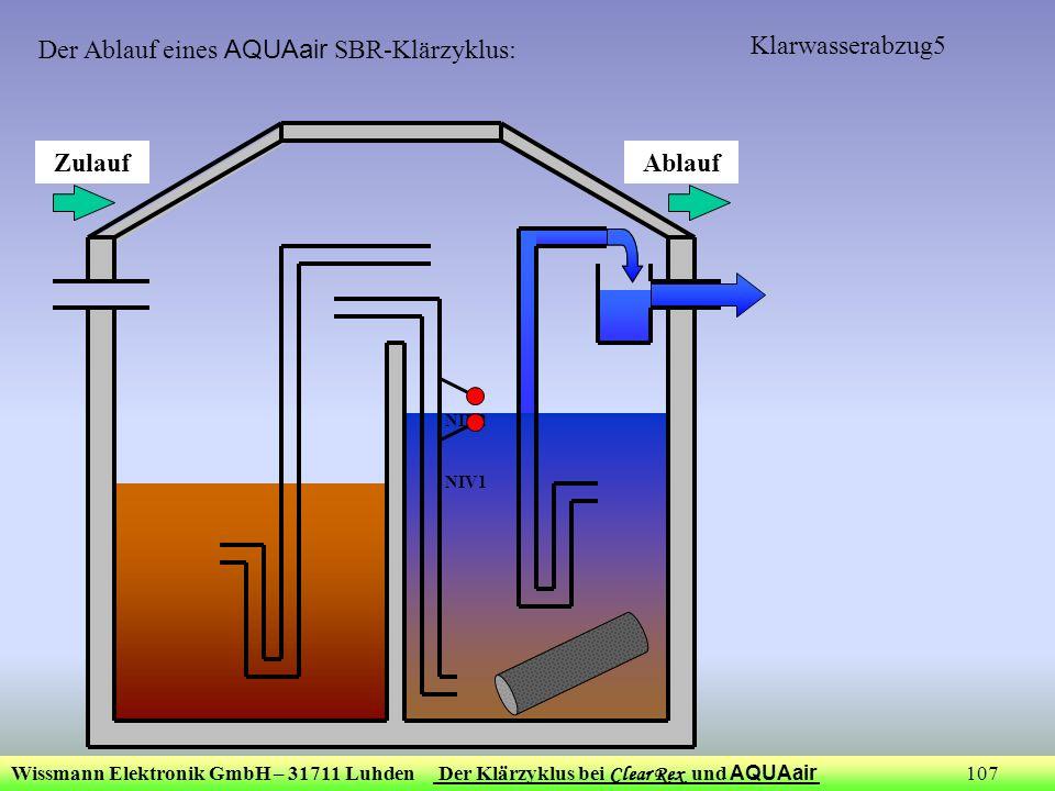 Wissmann Elektronik GmbH – 31711 Luhden Der Klärzyklus bei Clear Rex und AQUAair 107 Klarwasserabzug5 ZulaufAblauf NIV2 NIV1 Der Ablauf eines AQUAair