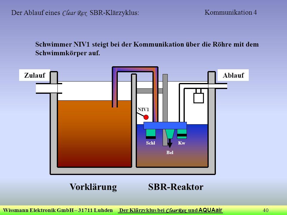 Wissmann Elektronik GmbH – 31711 Luhden Der Klärzyklus bei Clear Rex und AQUAair 40 Kommunikation 4 ZulaufAblauf Bel KwSchl NIV1 Der Ablauf eines Clea