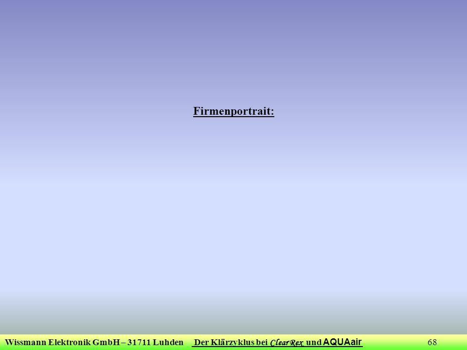 Wissmann Elektronik GmbH – 31711 Luhden Der Klärzyklus bei Clear Rex und AQUAair 68 Firmenportrait: