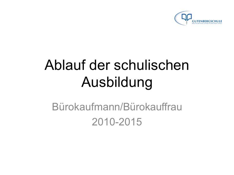 Ablauf der schulischen Ausbildung Bürokaufmann/Bürokauffrau 2010-2015