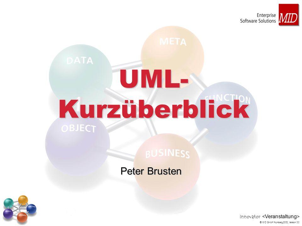 innovator © MID GmbH Nürnberg 2003, Version 3.0 UML- Kurzüberblick Peter Brusten
