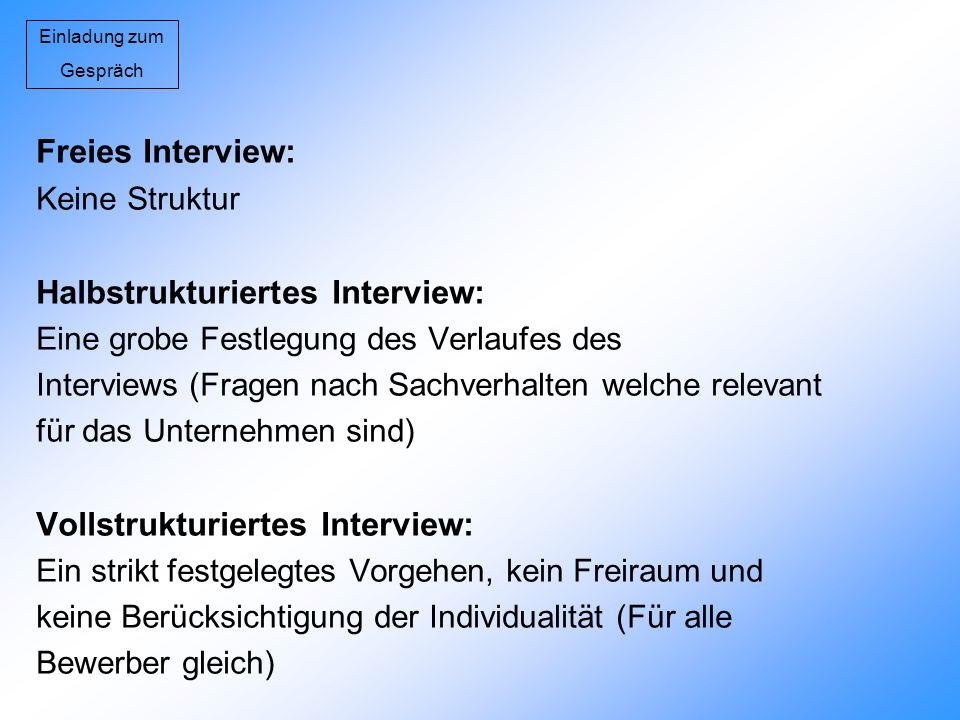 Einladung zum Gespräch Freies Interview: Keine Struktur Halbstrukturiertes Interview: Eine grobe Festlegung des Verlaufes des Interviews (Fragen nach