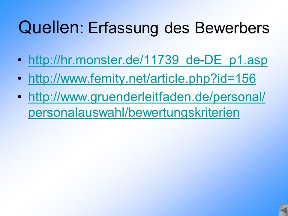 Quellen : Erfassung des Bewerbers http://hr.monster.de/11739_de-DE_p1.asp http://www.femity.net/article.php?id=156 http://www.gruenderleitfaden.de/per