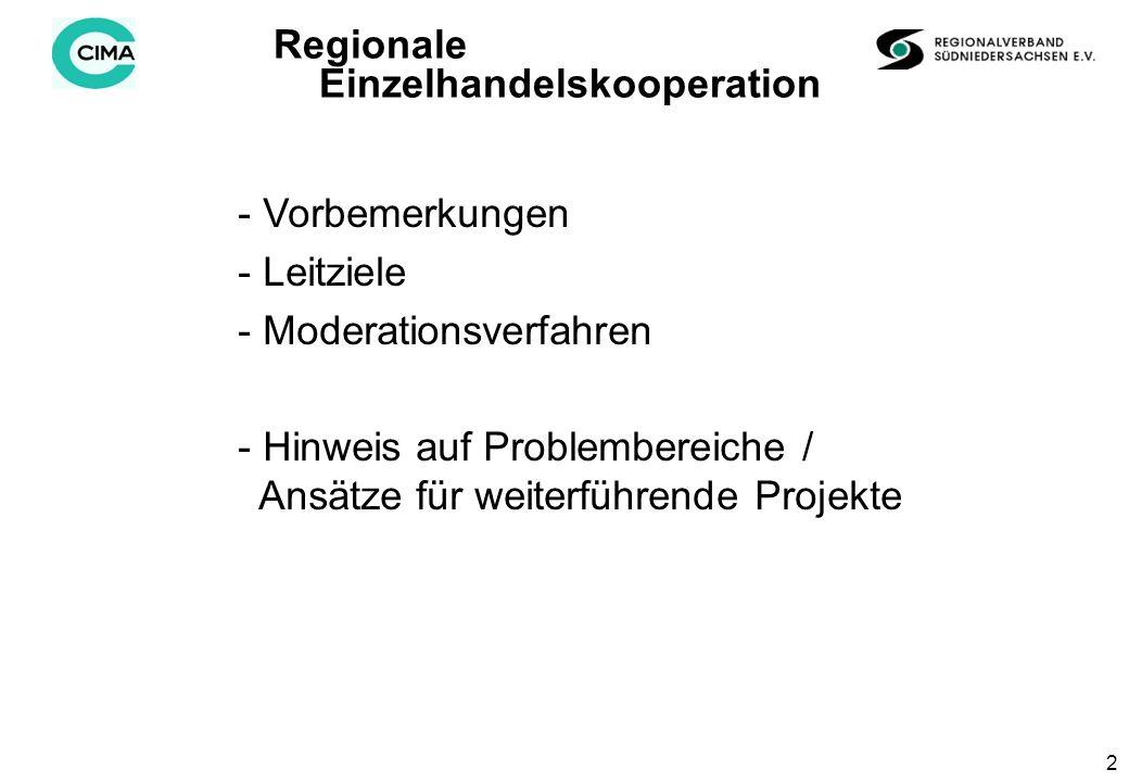 2 Regionale Einzelhandelskooperation - Vorbemerkungen - Leitziele - Moderationsverfahren - Hinweis auf Problembereiche / Ansätze für weiterführende Projekte