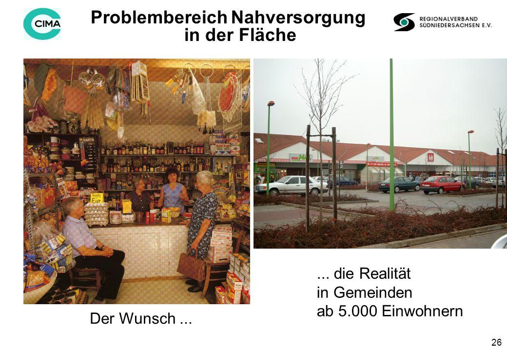 26 ProblembereichNahversorgung in der Fläche Der Wunsch......